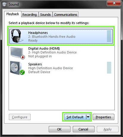 Windows PC Playback Device